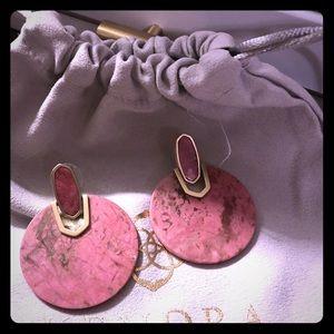 Didi Gold Statement Earrings In Pink Rhodonite